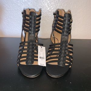 New York & Company Black Strappy Heels